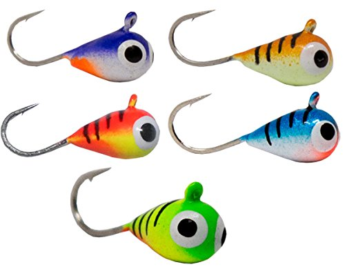 - Tooth Shield Tackle UV Glow Tungsten Ice Fishing Jigs 5-Pack Crappie Perch Bluegill Walleye 5mm 5 Different Colors