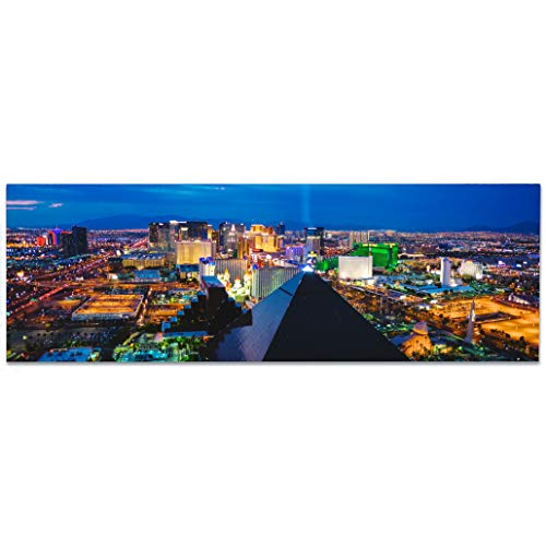 Images4Walls A53132 Modern 48x16 Full Color Metal Panoramic Aerial Print of las Vegas, Nevada with Illuminated Casino at Night Printed on Premium Dibond Aluminum Home Decor Wall Art (Las Vegas)