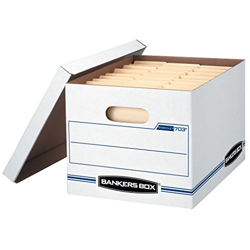 - Bankers Box STOR/FILE Storage Boxes, Standard Set-Up, Lift-Off Lid, Letter/Legal, 6 Pack (57036-04)