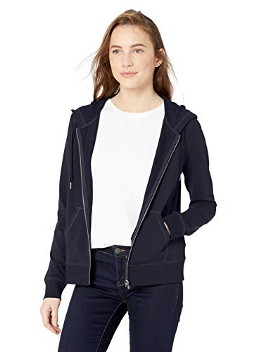 Amazon Brand - Daily Ritual Women's Terry Cotton and Modal Full-Zip Hooded Sweatshirt, Navy, Small