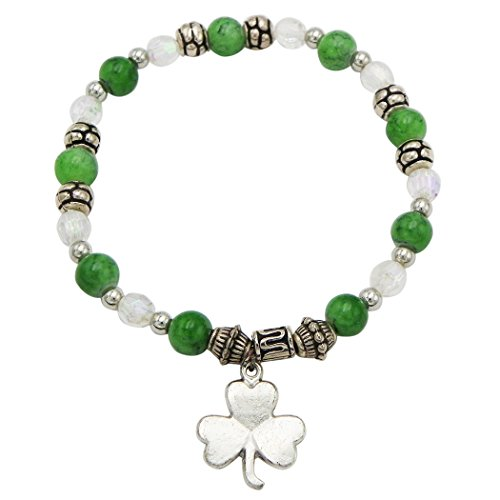 Bracelet Irish Beaded (Rosemarie Collections Women's St. Patrick's Day Irish Beaded Stretch Bracelet with Charm (Shamrock))