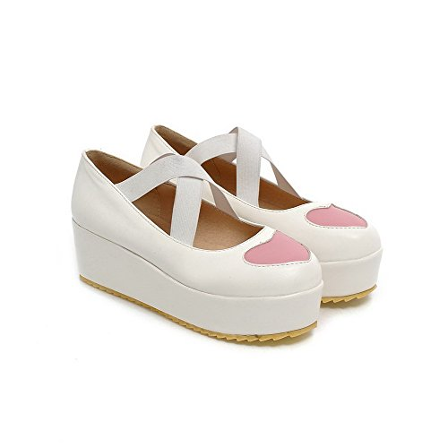VogueZone009 Women's Assorted Color PU Kitten-Heels Round Closed Toe Elastic Pumps-Shoes White fcFhrtfYE