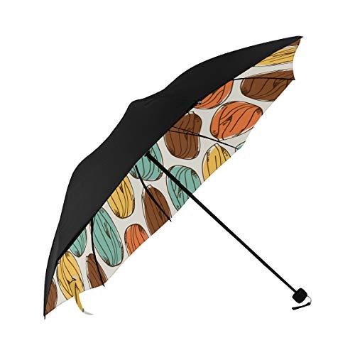 Almond Dried Fruit Casual Snack Ideas Compact Travel Umbrella Sun Parasol Anti Uv Foldable Umbrellas(underside Printing) As Best Present For Women Sun Uv Protection