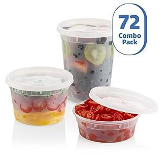 ZEML 72 Sets Combo Pack Deli Food Storage Containers With Leak-proof Lids - 24 Sets 8 oz. 24 Sets 16 oz. & 24 Sets 32 oz.