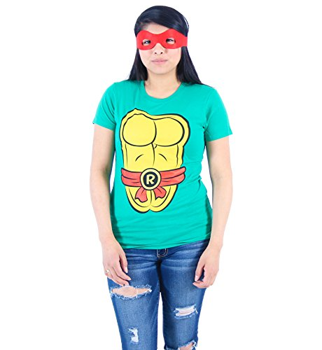 Ninja Turtles Womens T Shirt (TMNT Teenage Mutant Ninja Turtles Raphael Costume Juniors Green T-shirt with Red Eye Mask (Juniors Medium))