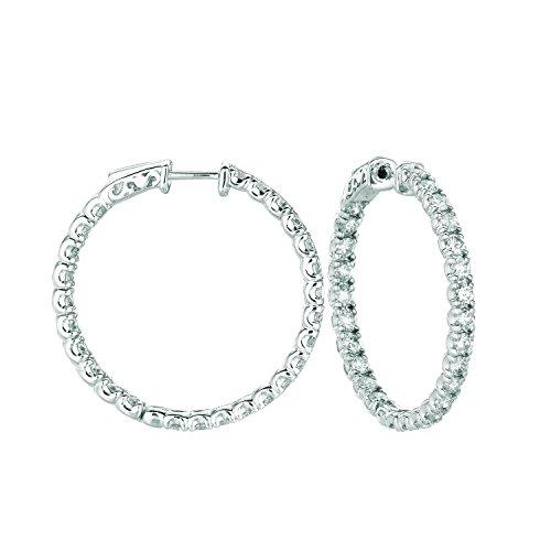 14K White Gold Hoop Earrings (patented snap lock) - 5.04ctw. Diamond