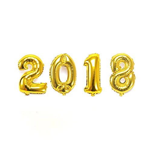 Hemlock 2018 Balloon New Year Party Decoration Christmas Number Balloon Gold Silver  Gold
