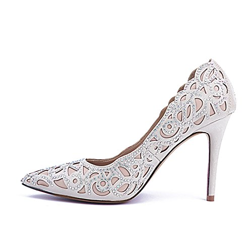 Party Dress Di Ma04174 Evening Wedding Shoes Donna Minitoo Floreale Pecora Punta Beige In Pelle Chiusa nbsp;intagliato Prom 6P7q87W5w