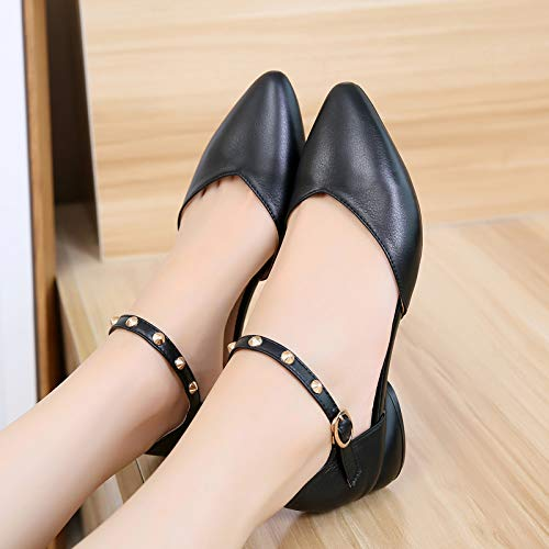 Summer Six Wild Women'S Shoes Word Thirty Leather Black And Single Pointed Low Baotou KPHY Thick In t4x6qtA