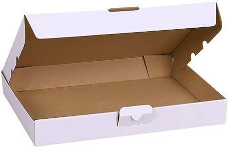 2 cajas de cartón troqueladas blancas 32 x 22,5 x 5 cm para envíos de embalaje: Amazon.es: Oficina y papelería