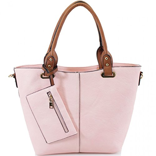 LeahWard Women's Faux Leather Two In One Bag For Women Holiday Travel For Work College Handbags Pink H29cm X W41cm X D15cm