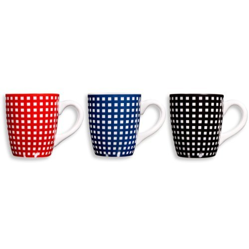 Home Essentials 22 oz. Gingham Checkered Assorted Colors Coffee Mugs Cups, Set of 3,, Black