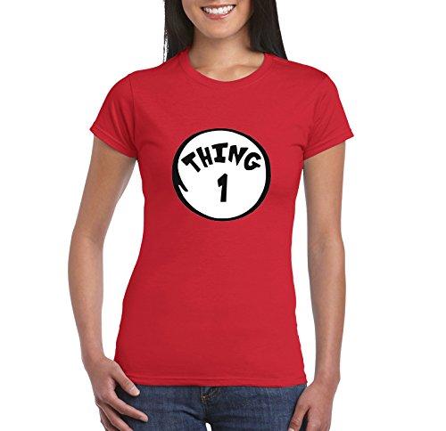 Women's Dr Seuss US T-Shirt Thing 1 2 3 4 5 6 7-9 Halloween T-Shirt Red S-2XL (Small, Thing Red (Thing 1 Thing 2 Thing 3)