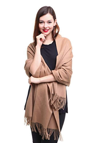 REEMONDE Cashmere Wrap Pashmina Stole for Women Winter Extra Large Mens Lambswool Solid Shawl Scarf Holiday Gift (Camel) - Cardigan Oversized Wrap