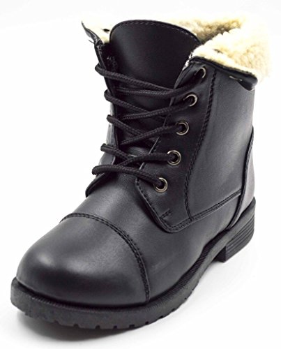 Simply Pedals Girls Faux Sherpa Trim Vegan Leather Combat Military Lace Up Boot (Little Girl/Big Girl)