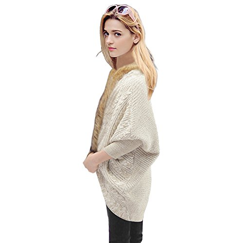 Imixshop Women's Loose Fur Collar Sweater Winter Batwing Knit Cardigan Jumper Coat