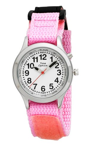 Youth (Kids) Talking Watch with Dual Voice/Alarm and Pink Velcro Strap by Active Products Plus
