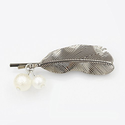 Korean fashion flowers pearl hairpin Liu beach clip leaves retro twist clip word folder frosted balls for women girl lady