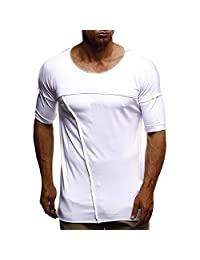 Mens Slim Fit t Shirt,Donci Muscle Gym Fitness Sports Casual Tees Summer New Crew Neck Solid Basic Tops