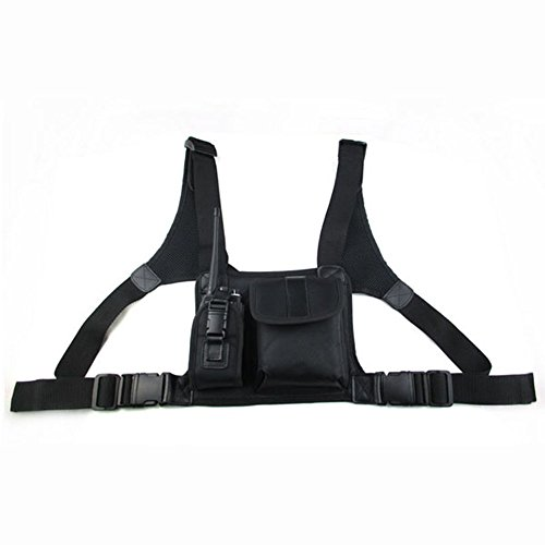 Incent Universal Nylon Leather Adjustable Hands-Free Harness Pouch Chest Pack Shoulder Straps For Two Way Radio (Leather Universal Radio)