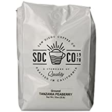 San Diego Coffee Tanzania Peaberry, Ground Roasted Coffee, 32-Ounce (2-Pound)