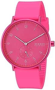 Skagen Men's Aaren Quartz Watch with Silicone Strap, Pink, 20 (Model: SKW6559)