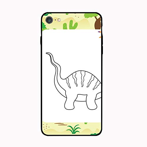 Cute Cartoon Dino Coloring Page iPhone 6/6S Case, Slim-Fit Ultra-Thin Anti-Scratch Shock Proof Non-Slip Case for iPhone 6/iPhone 6S