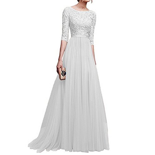 Maxi 2 Elegante Robe Style d't Fanessy Ceremonie Soir de Robe Chic Longue Party Charme Col Mode Simple Rond Manche1 Blanc Femme nawwzqE04