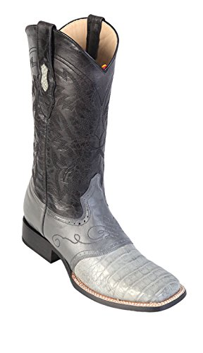 Toe Skin Boots Western Genuine Belly Leather Square Gray Caiman Wide Men's w Saddle qFwT7nvEx