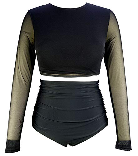 (COCOSHIP Solid Black Mesh Net Layer Multi-Purpose Long Sleeve Swim Shirt Rash Guard Top Tankinis Shirred High Waist Cruise Beachwear 10)