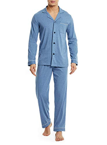 - David Archy Men's 100% Cotton Long Button-Down Sleepwear Pajama Set (S, Heather Navy Blue)