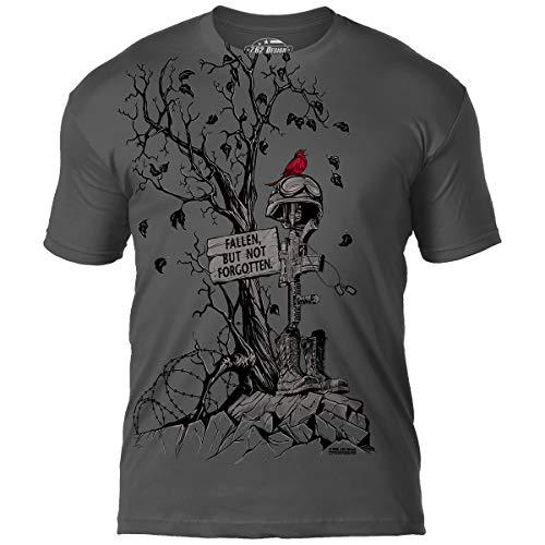 7.62 Design 'Fallen, But Not Forgotten' Men's Jumbo Print T-Shirt XL Charcoal