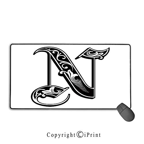 (Extended Gaming Mouse pad with Stitched Edges,Letter N,Gothic Victorian Style Typography Classic Capital Character N with Floral Swirls Decorative,Black White,Ideal for Desk Cover, Computer Keyboard,)