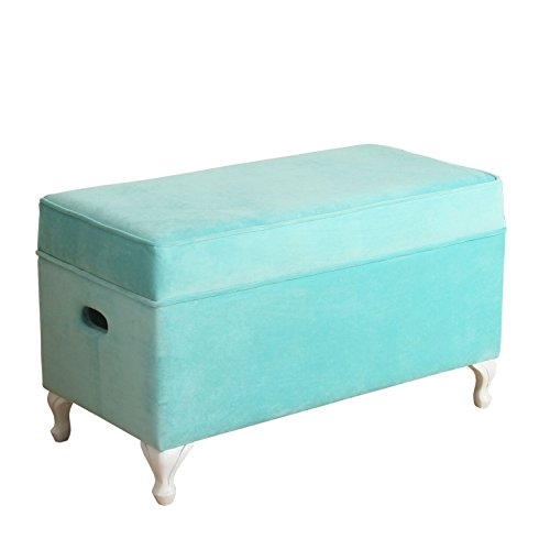 HomePop Diva Youth Velvet Decorative Storage Bench with White Wood Legs, Teal