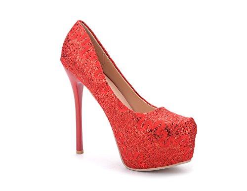 Mila Lady Fay Embroidered Lace Elegance Sky-High Sparkles Platform Lady Heels Red 4SeR80m
