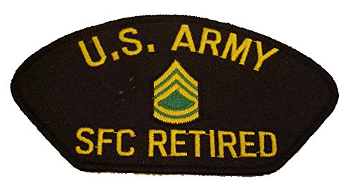 U S ARMY SFC RETIRED with RANK INSIGNIA PATCH - Yellow and Green on Black Background - Veteran Owned Business