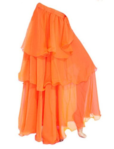 jupe Spirale Orange Longue de Du A Couches Mousseline Danse Gitan Ventre soie Trois Express Maxi CSSwq8RxB