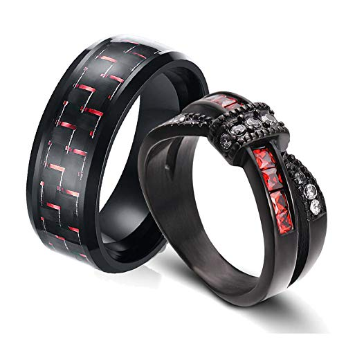 Two Rings His and Hers Couple Ring Bridal Set His Hers 3pc Women Black Gold Filled Red Cz Man Stainless Steel Wedding Ring Band Set