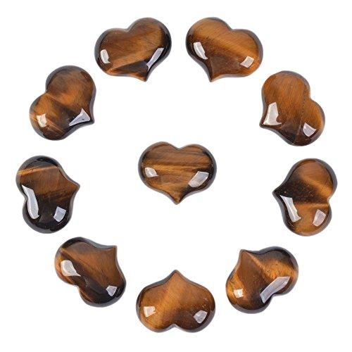 Justinstones Natural Yellow Tiger Eye Gemstone Healing Crystal 1 inch Mini Puffy Heart Pocket Stone Iron Gift Box (Pack of 10)