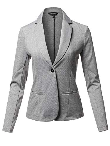 Solid Formal Single Button Up Long Sleeve Blazer Jacket Heather Gray Size S