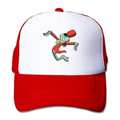 Spongebob Krusty Krab Hat (Cool Sponge Bob Squarepants Squidward Tentacles Trucker Mesh Baseball Cap Hat Red)