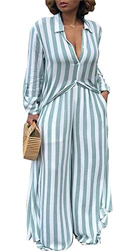(Womens 2 Piece Outfits Open Front Cardigan Stripe Cover up with High Waisted Wide Leg Pants Plus Size Blue )