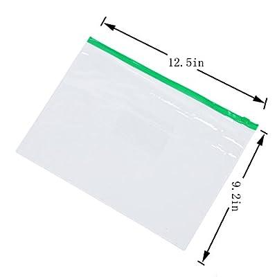 10 Pack Clear Plastic Poly Envelope Folder File Folder Bags? Letter Size, 5 Color Zippers