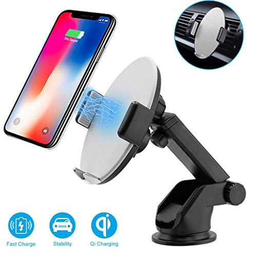 WONdere Wireless Charger Nano Suction Charger For Samsung S10/S10+ For iphone XS MAX/XS,360 Degree Infrared Intelligent Automatic Wireless Charging (White 2)