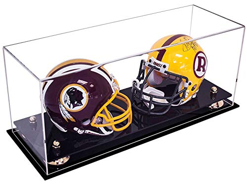 Better Display Cases 2 Mini Football Helmet Display Case (not Full Size) Clear Acrylic Plexiglass with Gold Risers (A019-GR)