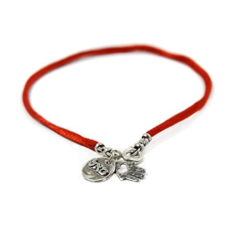 (Women's Handmade Hamsa Red Silk String Sterling Silver Charm Bracelet for Success and Abundance)