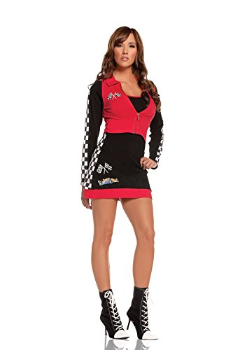 [Sexy Female Race Car Hottie Halloween Roleplay Costume 2pc Set (L, Black/Red)] (Sexy Black Race Car Driver Costumes)