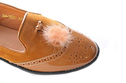 Mojoshu - Zapatos de Vestir mujer marrón claro