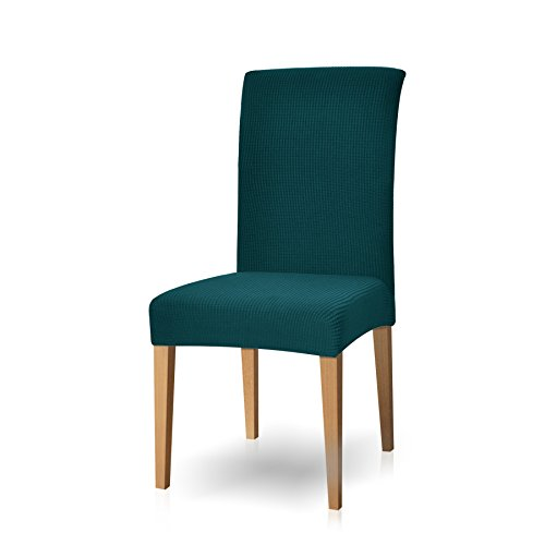 Subrtex Dyed Jacquard Stretch Dining Room Chair Slipcovers (4 Pieces, Turquoise Checks)