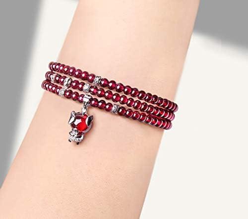 Reine Natürliche Rote Achat Granat Multi Ring Armband